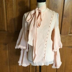 Authentic CHLOE peach blush bell sleeves top